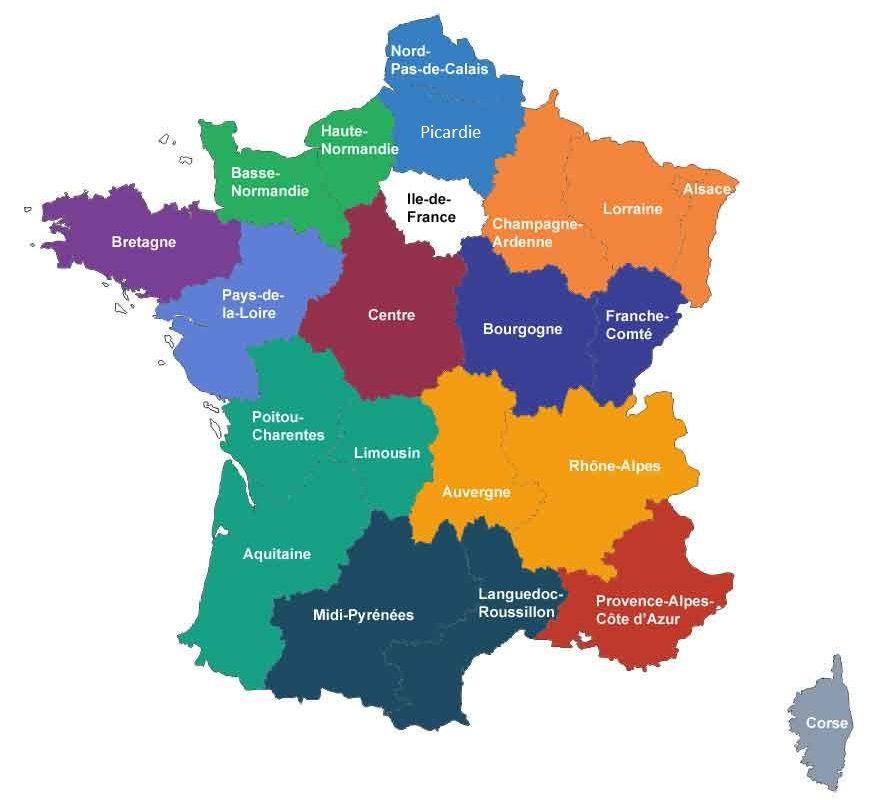 La nouvelle carte des régions de France : toutes les infos ! - Happie's